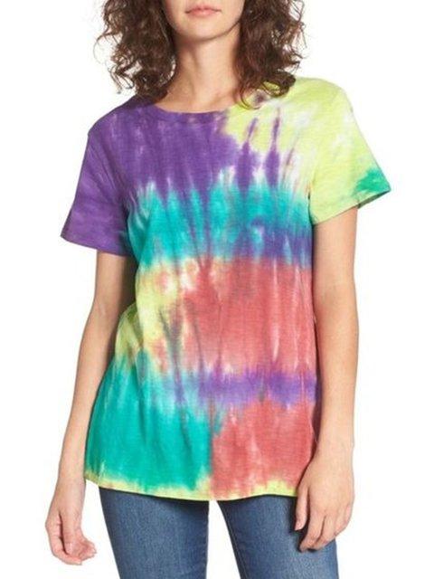 Multicolor Short Sleeve Crew Neck Cotton-Blend Shirts & Tops