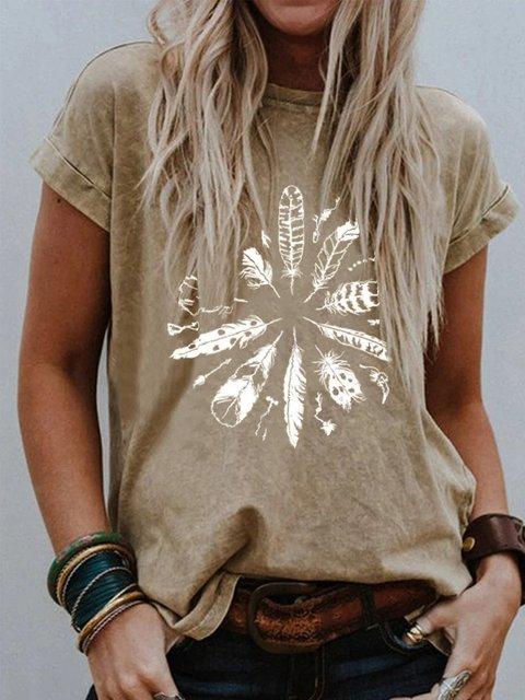 Coffee Cotton Short Sleeve Shirts & Tops