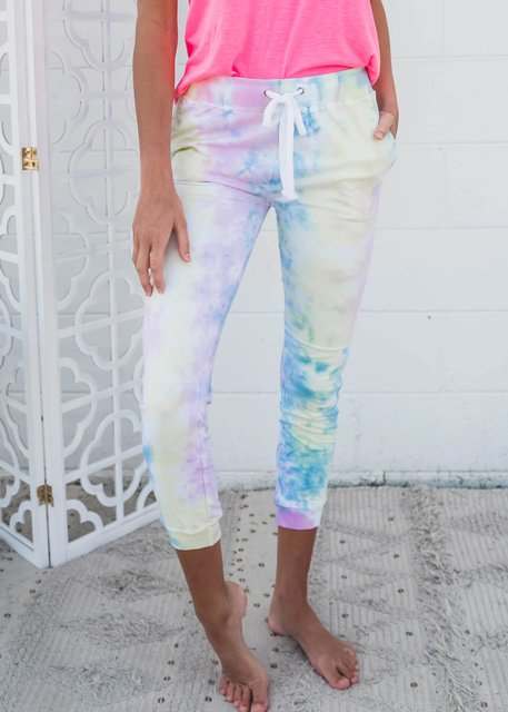 Cotton Casual Ombre/tie-Dye Printed Pants