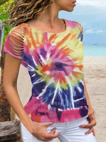 Vintage Boho Statement Tie-Dyed Short Sleeve Crew Neck Plus Size Casual Tops