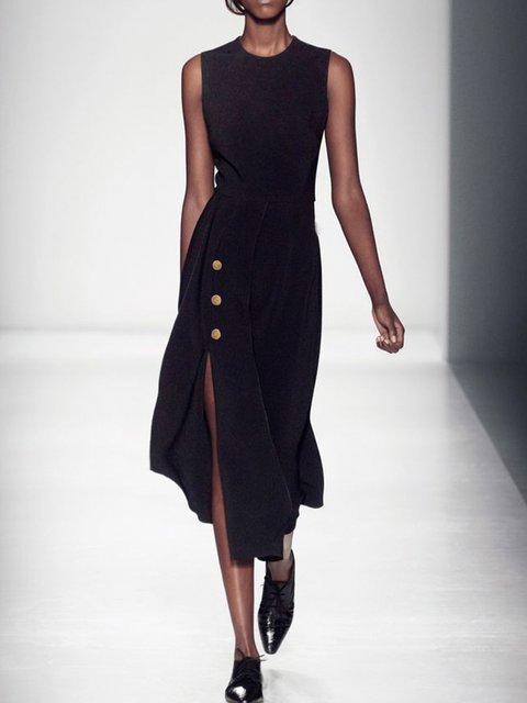 Plus Size Crew Neck Cotton-Blend Vintage Plain Dresses