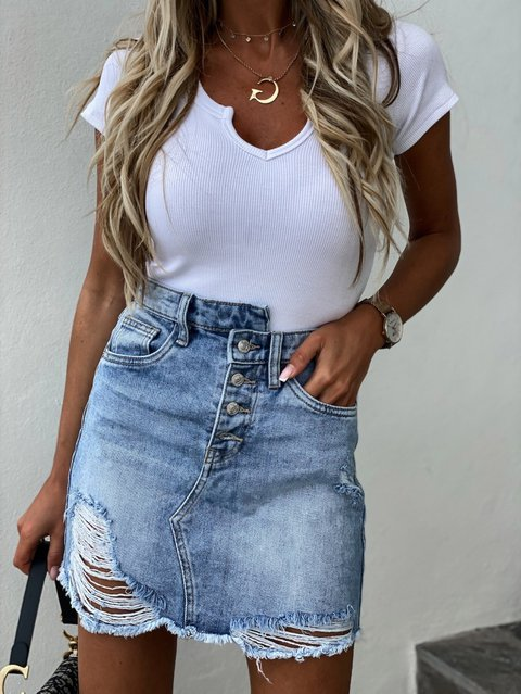 Denim Cotton Ripped Casual Skirts