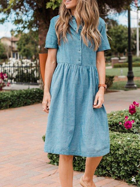 Blue Casual Denim Dresses