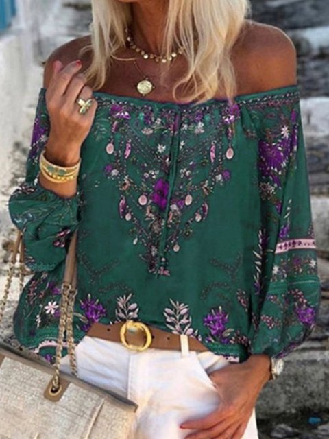 Printed Long Sleeve Off Shoulder Shirts & Tops