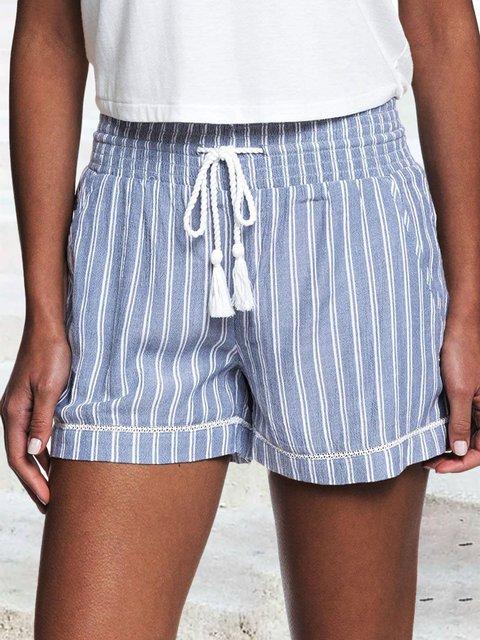 Striped Drawstring Elasti Waist Pocket Shorts