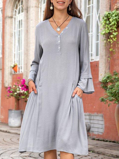 Women Plain Buttoned Bell Sleeve Dresses