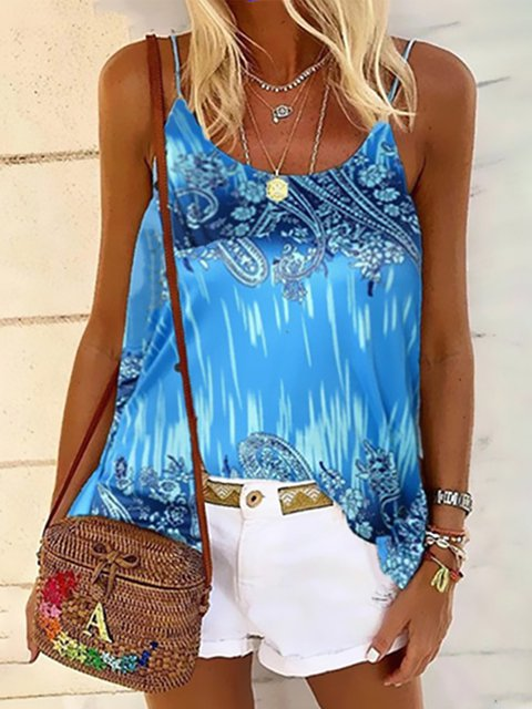 Vintage Sleeveless Boho Geometric Floral Printed Crew Neck Plus Size Casual Vest Tops