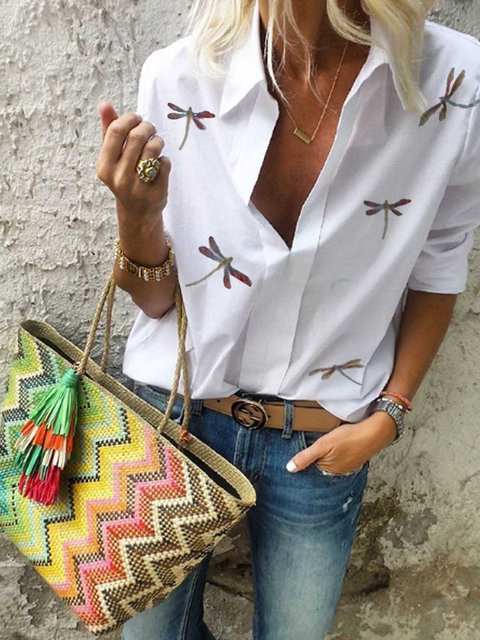 White Casual Shirt Collar Shirts & Tops