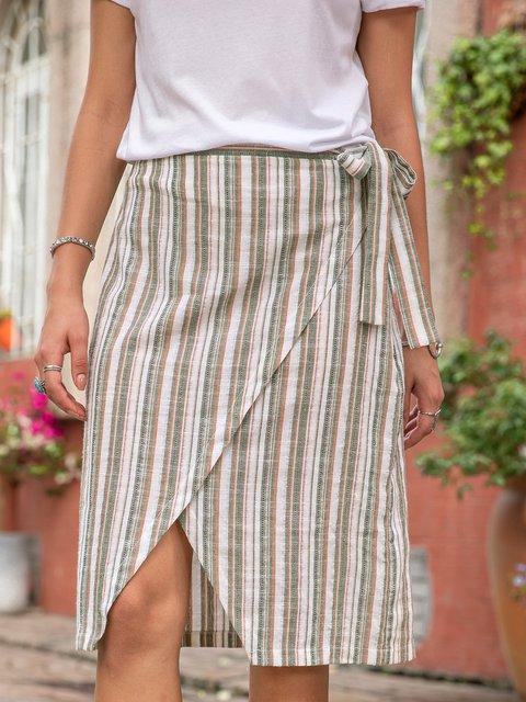Women Linen Striped Boho Skirts With Belt