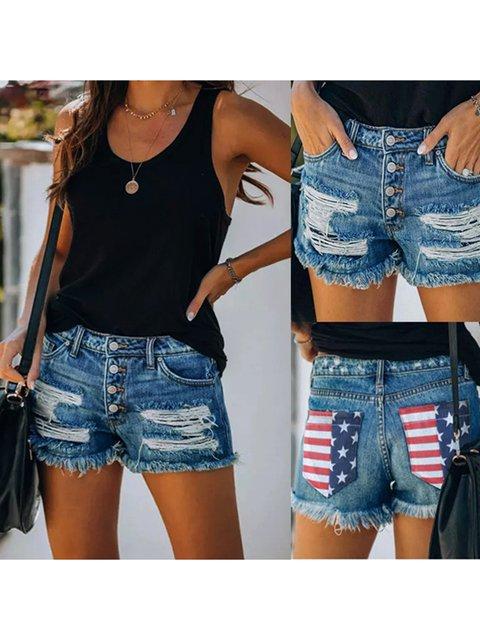 Paneled Casual Denim Shorts