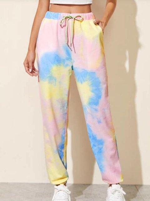 Cotton Ombre/tie-Dye Printed Pants