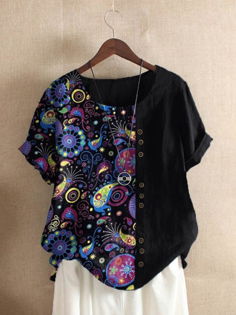 Black Floral-Print Short Sleeve Shirts & Tops