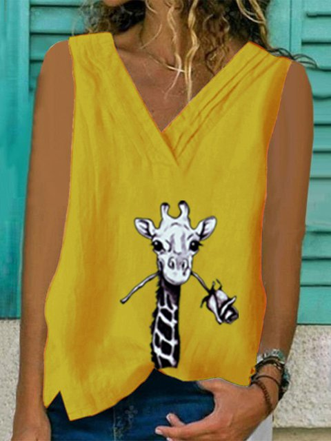 Giraffe Print V Neck Casual Cotton Shirts & Tops