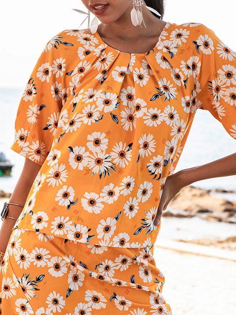 Yellow Floral Casual Floral-Print Crew Neck Shirts & Tops