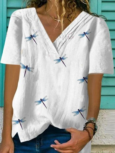 V Neck Printed Casual Shirts & Tops