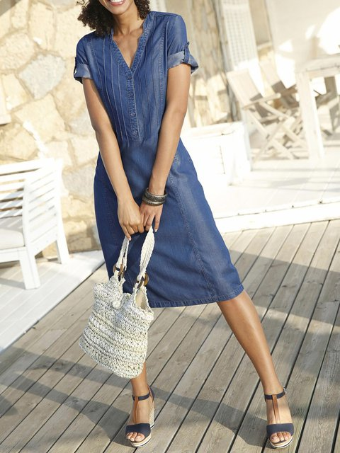 Blue V Neck Casual Denim Dresses