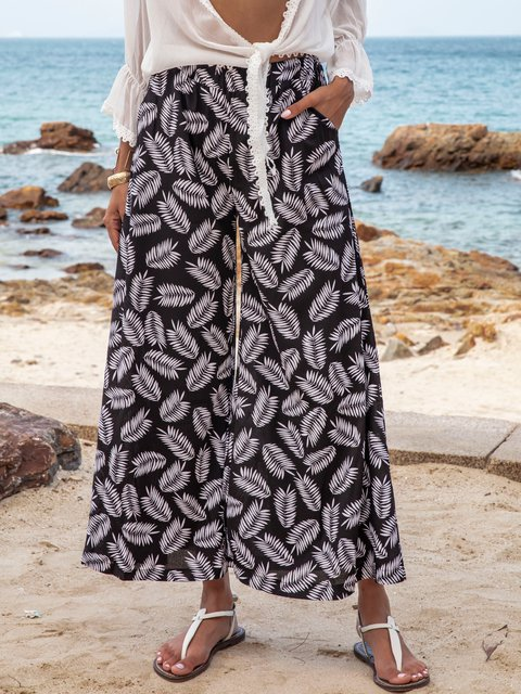 Black Floral-Print Holiday Floral Shift Pants