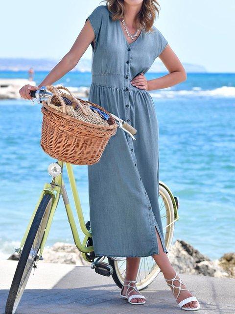 Blue Plain V Neck Batwing Denim Dresses