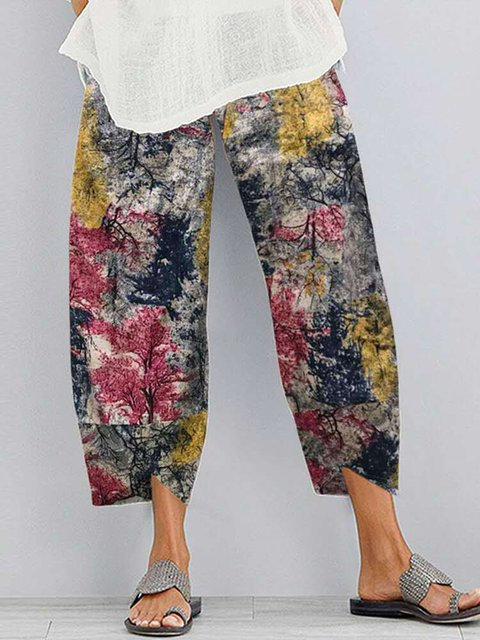 Geometric Cotton-Blend Pants