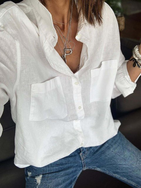 White Shift Casual Cotton Shirts & Tops