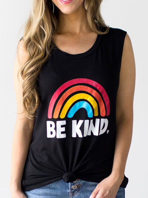 Be Kind Letter Rainbow Printed Crew Neck Tank Tops