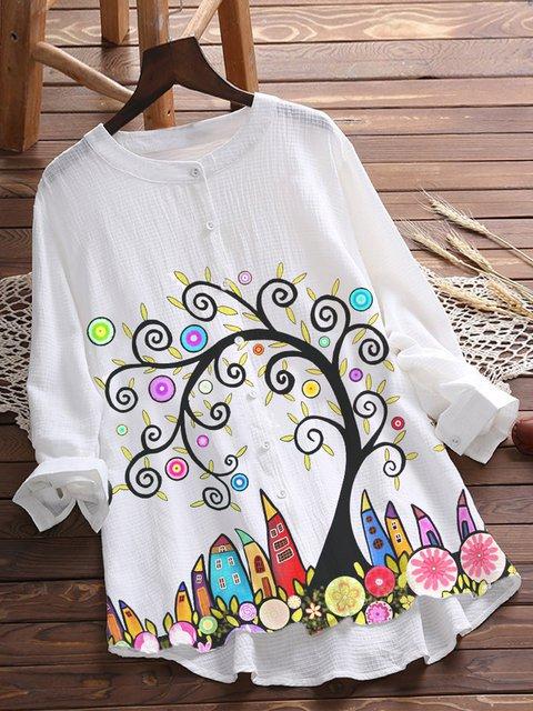 White Cotton-Blend Pastoral Floral-Print Shirts & Tops