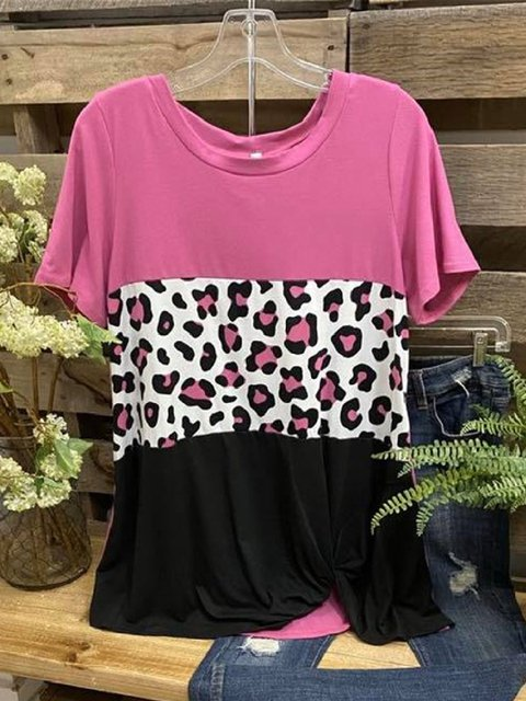 Rose Red Leopard Short Sleeve Shirts & Tops