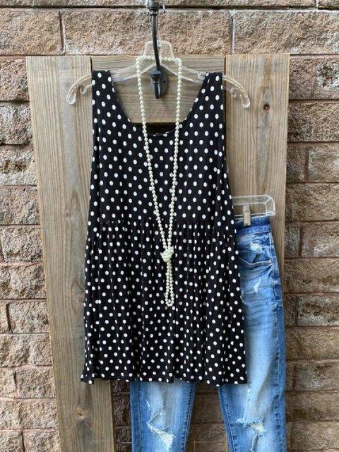 Black Shift Casual Polka Dots Shirts & Tops