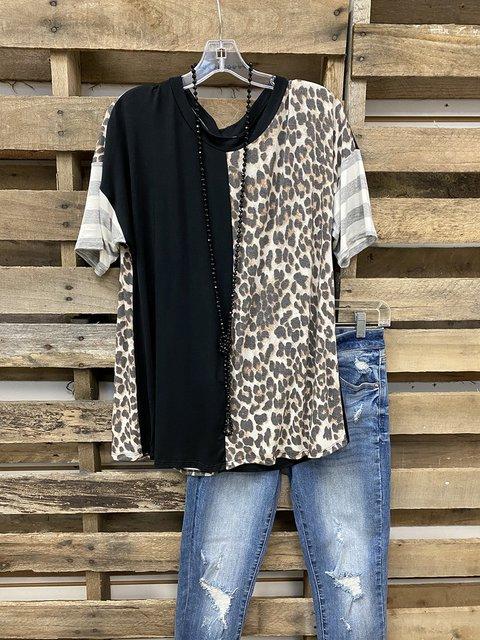 Leopard Stripe Stitching Casual T-shirt