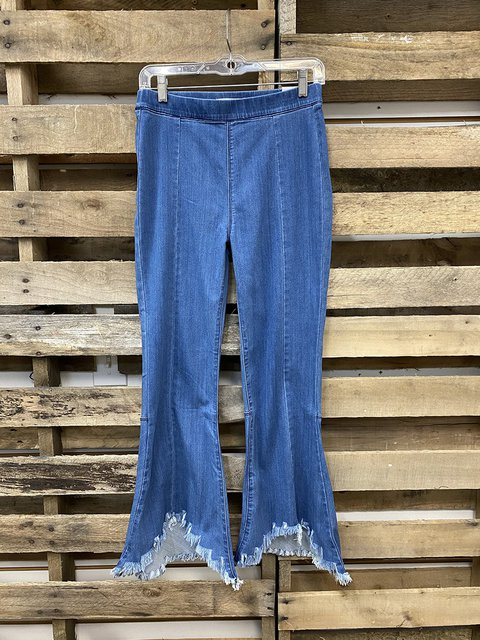 Brushed Elasticated Simple Retro Flared Jeans