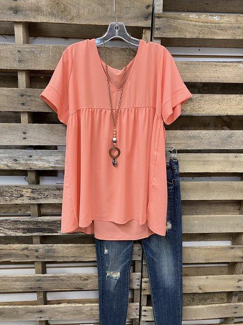 Basic Plain V Neck Shift Shirt & Top