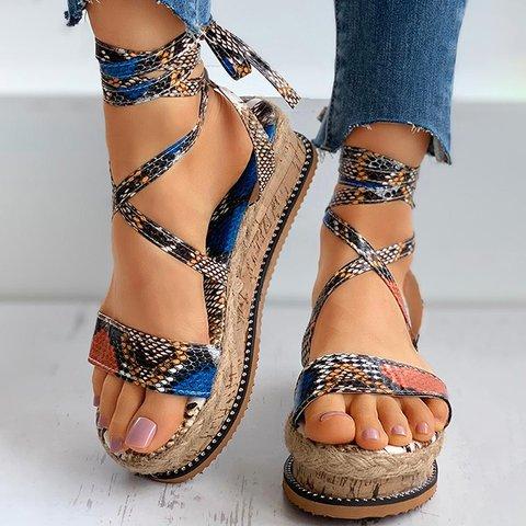 Woven Platform Ankle Strap Colorful Snake Print Sandals
