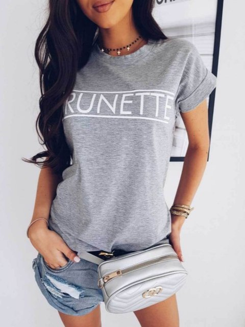 Letter Print Short Sleeve T-Shirts & Tops