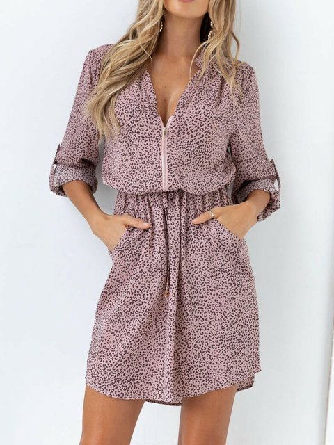 Leopard Shift Casual Leopard V Neck Dresses
