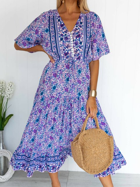A-Line V Neck Floral Casual Dresses Bosnian holiday dress