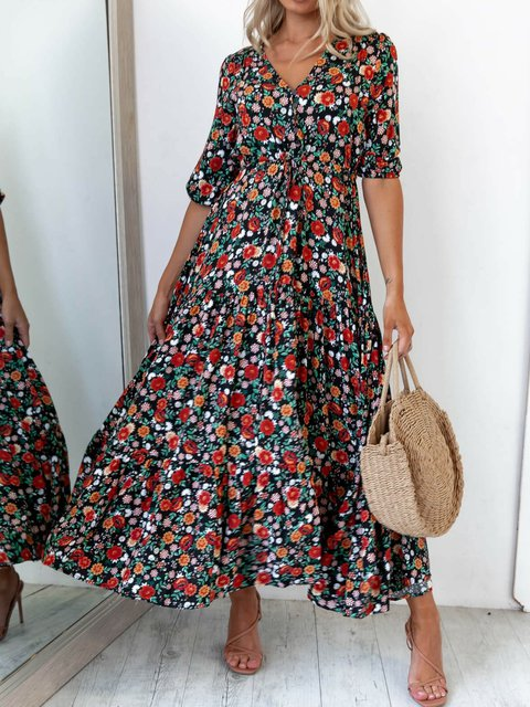 Black Short Sleeve Casual Dresses Flower dress