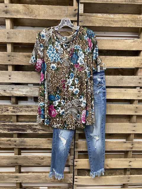 Brown Short Sleeve Crew Neck Cotton Shirt & Top
