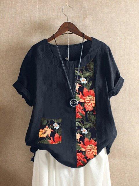 Vintage Floral Short Sleeve Shirts & Tops