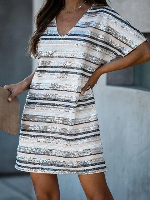 Casual Striped Sequin Shift Dress