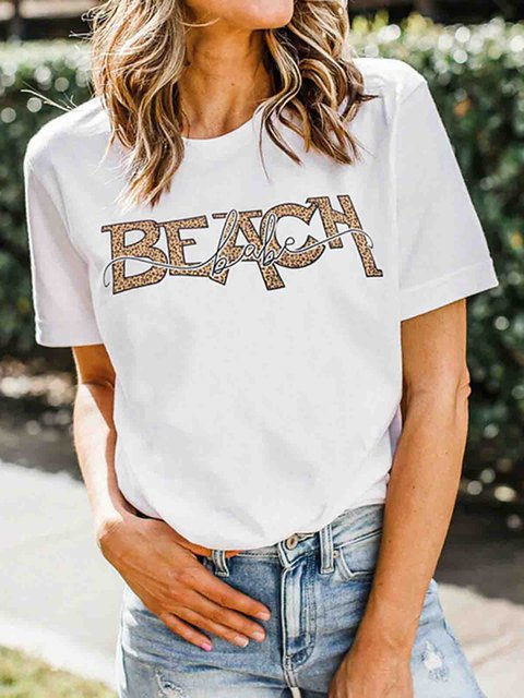 White Letter Short Sleeve Crew Neck Cotton Shirts & Tops