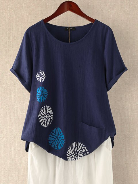 Blue Casual Floral-Print Shirts & Tops