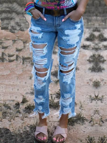 Blue Plain Ripped Denim Vintage Pants