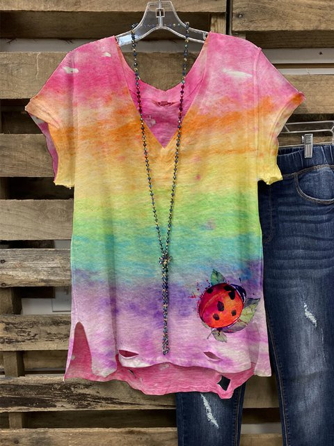Color Short Sleeve Casual Shirt & Tops
