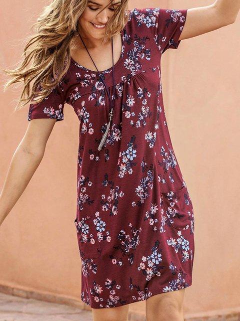 Red Short Sleeve Cotton-Blend Floral-Print Dresses