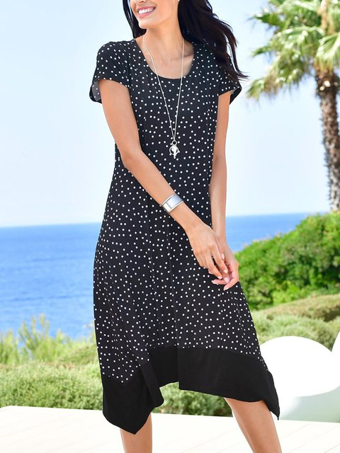 Black Asymmetric Short Sleeve Dresses