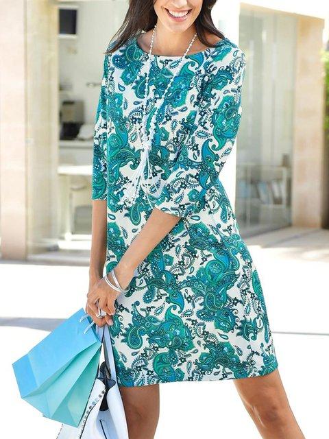 Green Cotton-Blend Half Sleeve Dresses