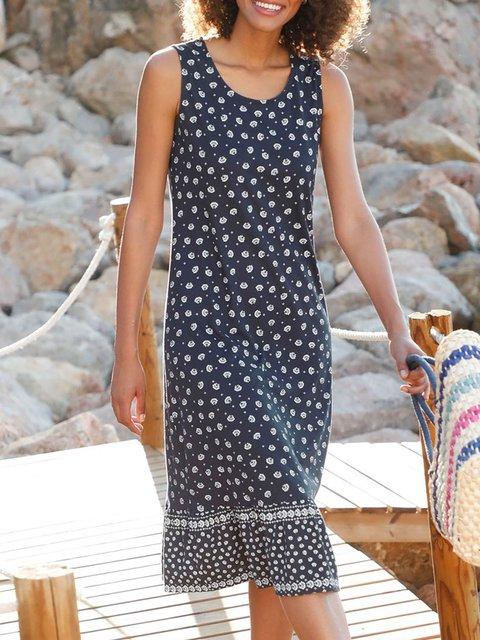 Navy Blue Vintage Sleeveless Printed Dresses