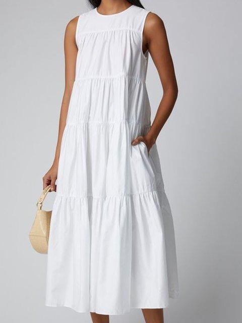 White Crew Neck Cotton-Blend Sleeveless Dresses