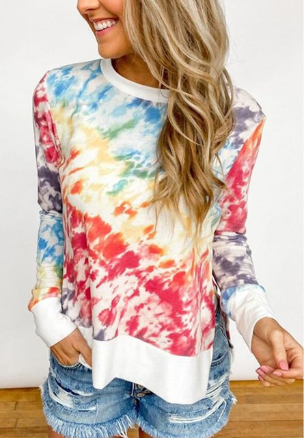 Casual Long Sleeve Ombre/tie-Dye Shirts & Tops