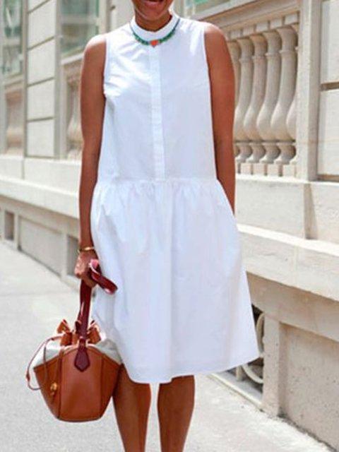 White Casual Sleeveless Dresses